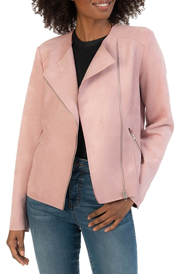 KUT from the Kloth faux suede moto jacket | 40plusstyle.com