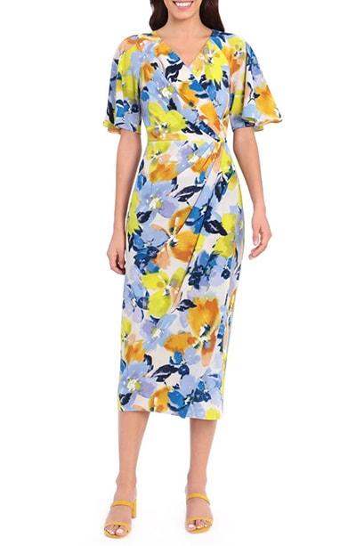 Maggy London print wrap midi dress   40plusstyle.com