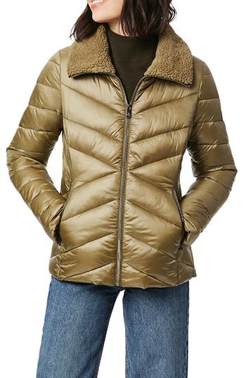 Bernardo fleece trim quilted puffer coat | 40plusstyle.com