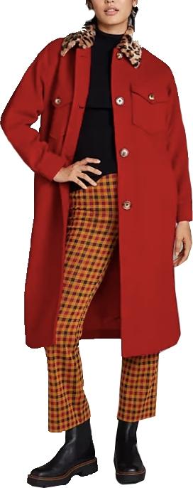 Anthropologie faux fur-trimmed knit coat | 40plusstyle.com