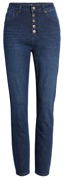 BP. button front skinny jeans | 40plusstyle.com