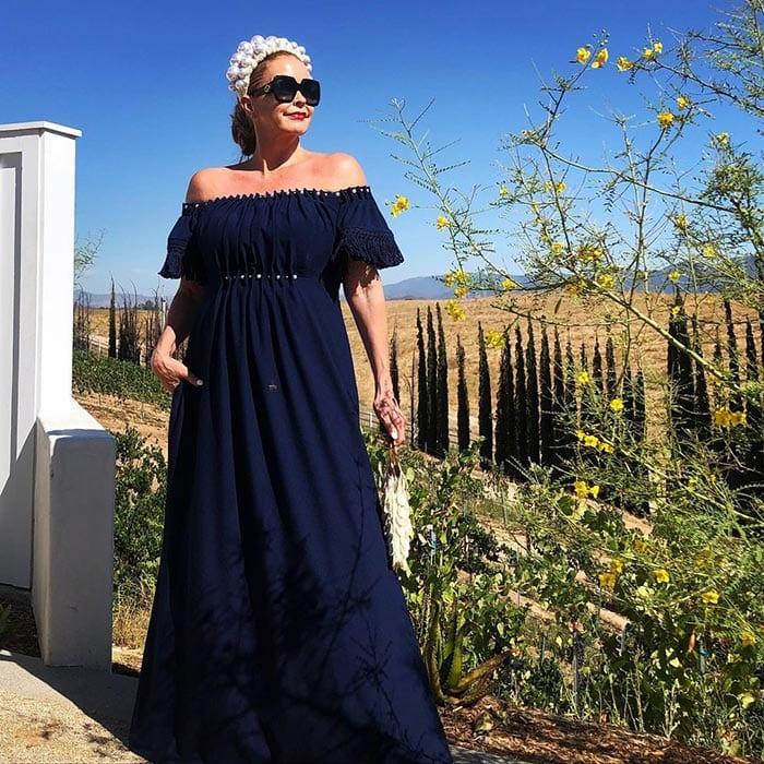 Tamera in a navy blue maxi dress | 40plusstyle.com