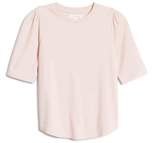 Treasure & Bond thermal knit puff sleeve top | 40plusstyle.com