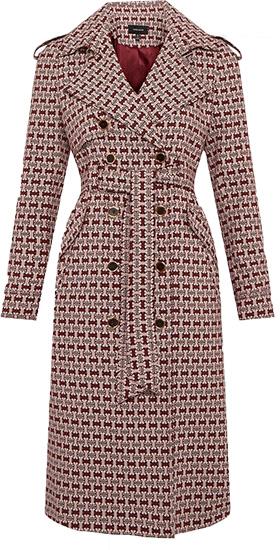 Karen Millen geo stretch jacquard trench coat | 40plusstyle.com
