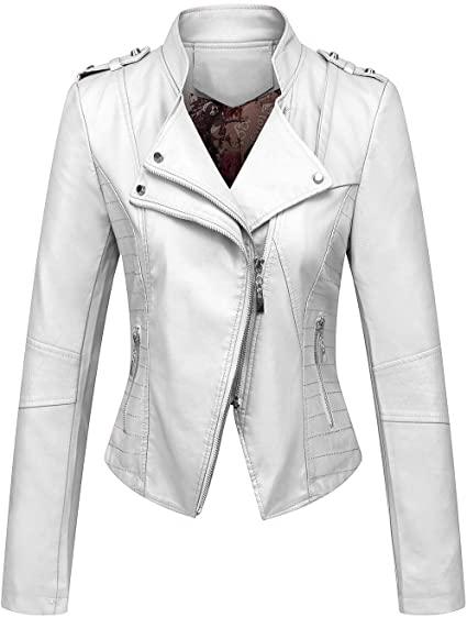chouyatou asymmetric zip faux leathe moto jacket | 40plusstyle.com