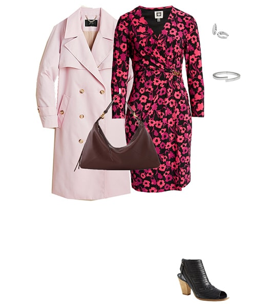 printed dress and pink coat | 40plusstyle.com