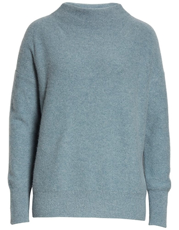 Vince Boiled Cashmere Funnel Neck Pullover | 40plusstyle.com