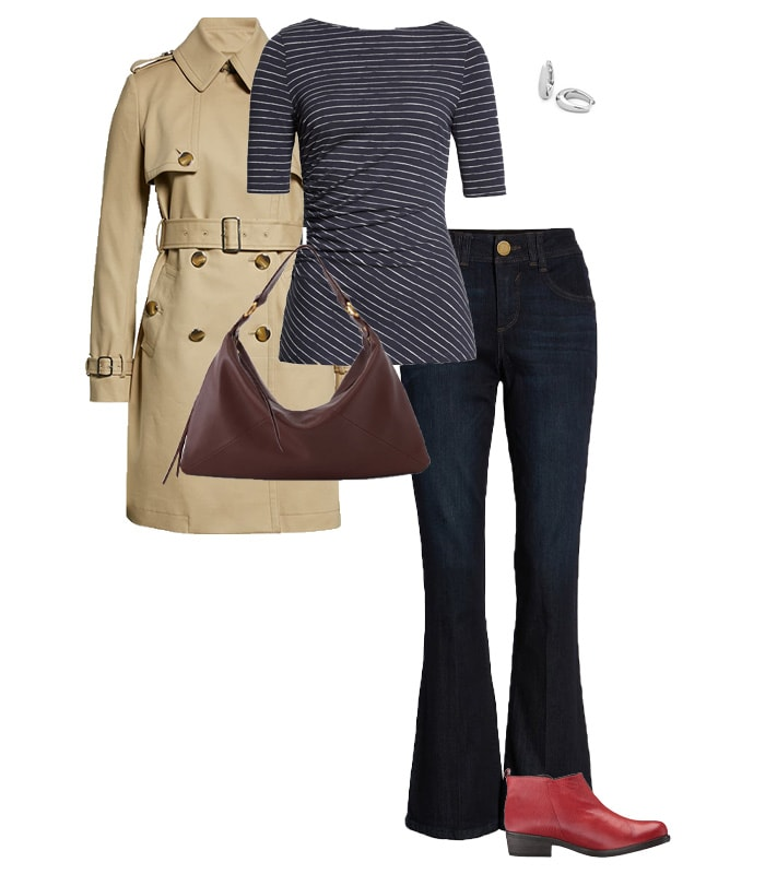 trench with striped shirt and bootcut jeans | 40plusstyle.com