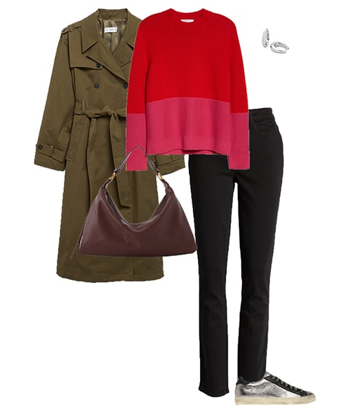 a trench coat worn with a sweater and jeans | 40plusstyle.com