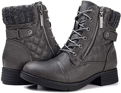 STQ Combat Boots Lace up Ankle Booties | 40plusstyle.com