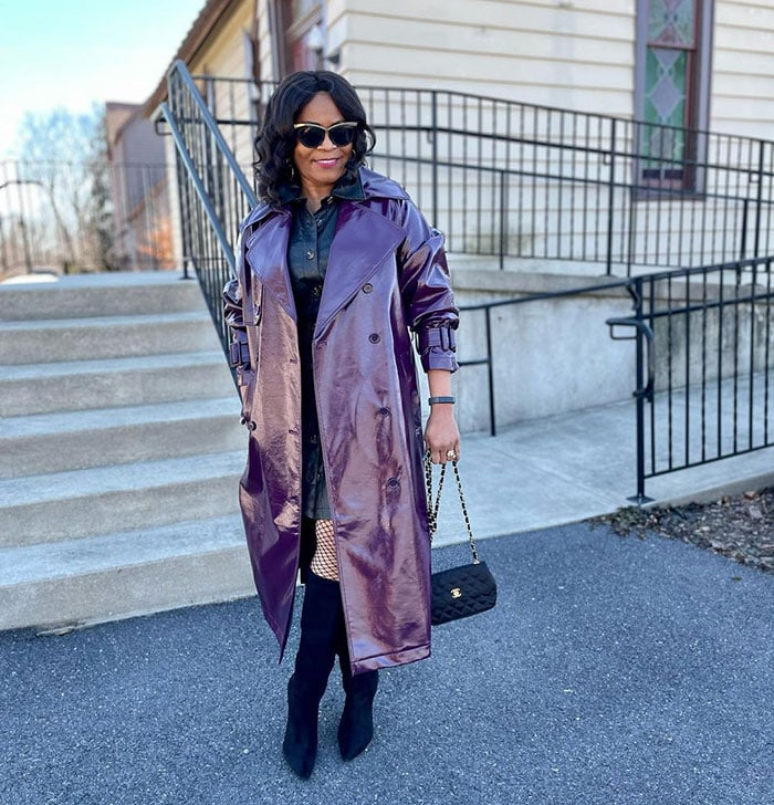 Best leather jackets for women - Eugenia wears a purple trench coat | 40plusstyle.com