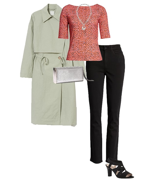 trench, print top and skinny jeans | 40plusstyle.com