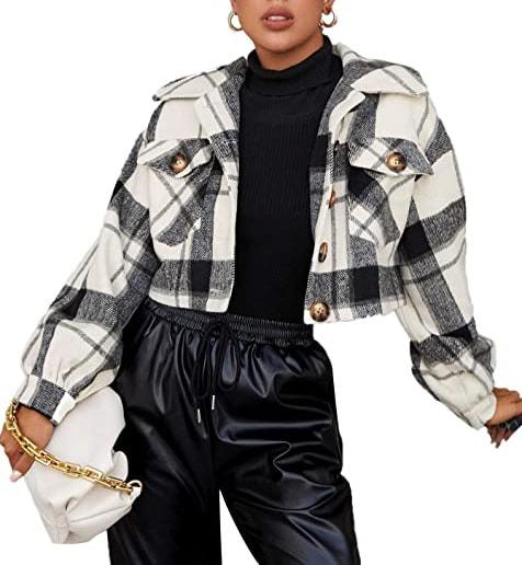 Floerns plaid crop jacket coat | 40plusstyle.com