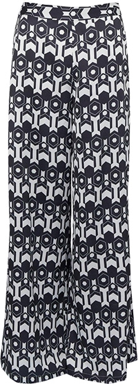 Karen Millen Geo Print Satin Wide Leg Woven Trouser | 40plusstyle.com