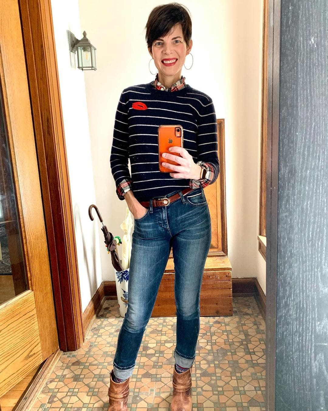 Wearing cuffed jeans with ankle boots | 40plusstyle.com