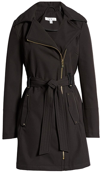 Via Spiga belted water resistant hooded trench coat | 40plusstyle.com