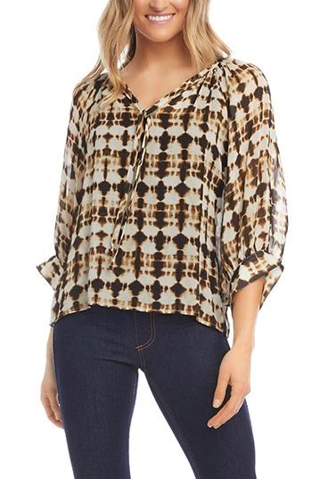 Karen Kane tie dye blouson sleeve top | 40plusstyle.com