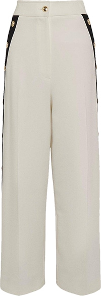 Karen Millen Compact Stretch Tipped Button Cropped Trouser | 40plusstyle.com