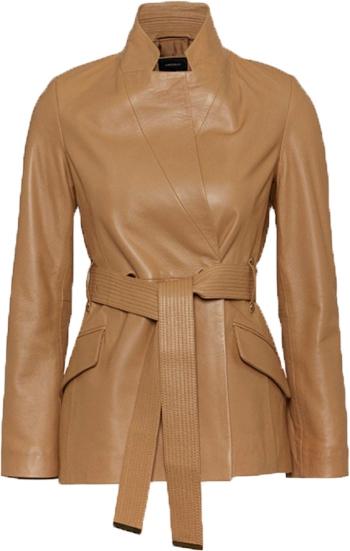 Karen Millen leather notch neck short coat | 40plusstyle.com | 40plusstyle.com