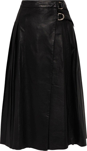 Karen Millen Leather Pleated Buckle Kilt Midi Skirt | 40plusstyle.com