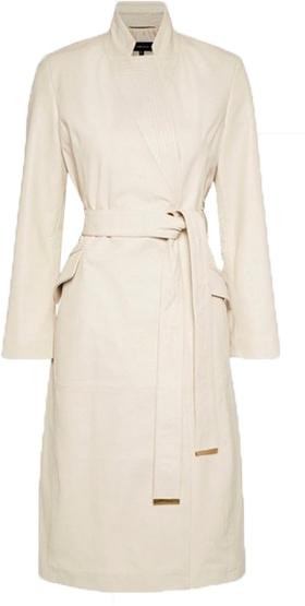 Karen Millen leather notch neck coat | 40plusstyle.com