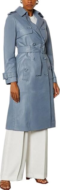 Karen Millen leather trench coat | 40plusstyle.com