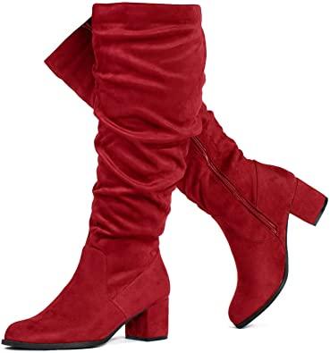 RF ROOM OF FASHION Wide Calf Block Heel Boots   40plusstyle.com