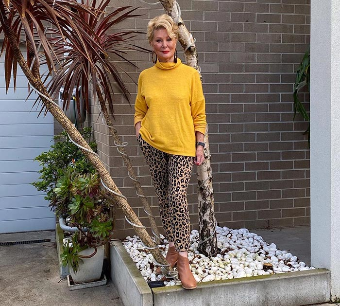Best winter boots for women - Sharryn wears her booties with her leopard-print pants   40plusstyle.com