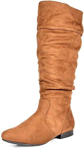 DREAM PAIRS Wide Calf Knee High Pull On Boots   40plusstyle.com