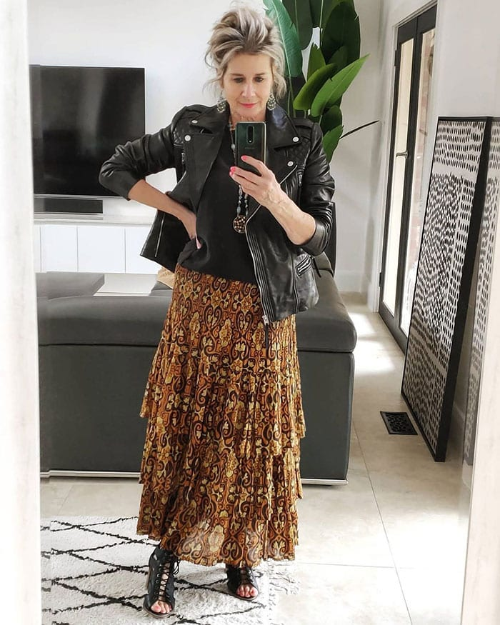 leather jackets for women - Suzie wears a leather jacket with her maxi skirt | 40plusstyle.com