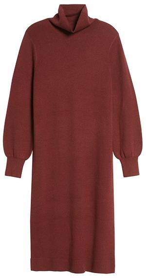 Caslon Double Knit Long Sleeve Turtleneck Sweater Dress | 40plusstyle.com