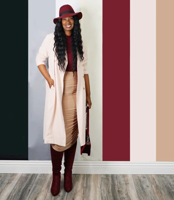 Tanasha wears burgundy boots   40plusstyle.com