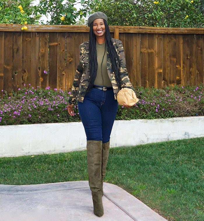 Best winter boots for women - Tanasha wears olive green boots   40plusstyle.com