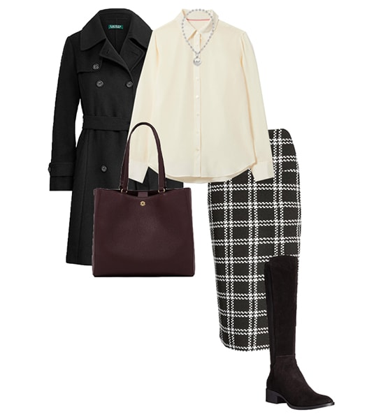 trench, shirt and pencil skirt | 40plusstyle.com