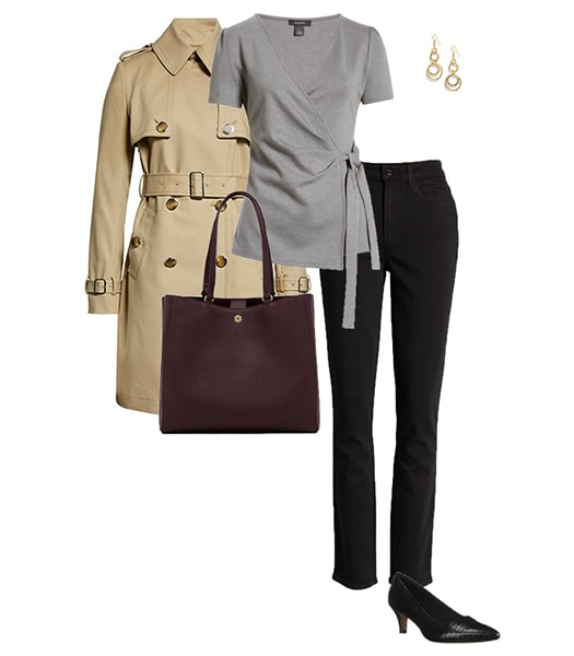Trench coat outfit with jeans | 40plusstyle.com