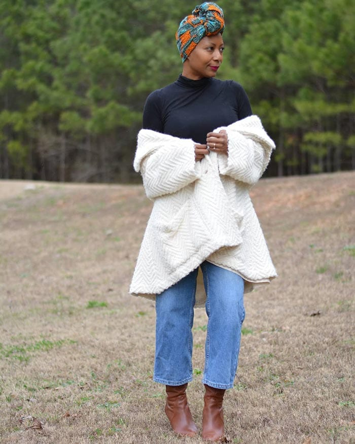 Best winter boots for women - Troy wears ruched boots   40plusstyle.com