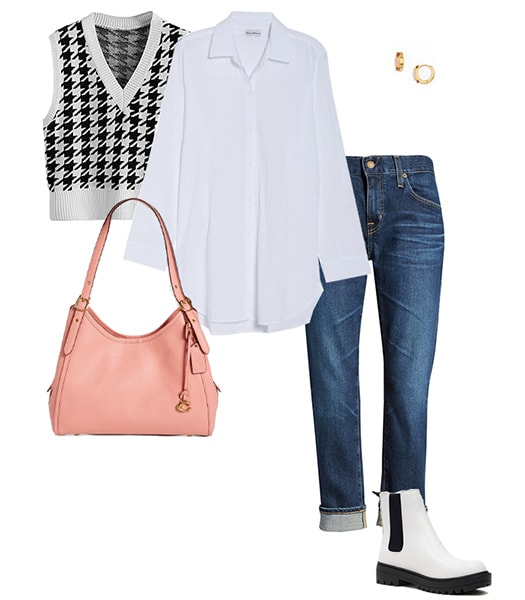 Cuffed jeans and white boots | 40plusstyle.com