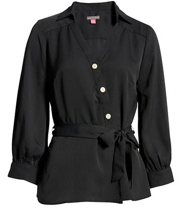 Vince Camuto asymmetric belt button-up blouse | 40plusstyle.com