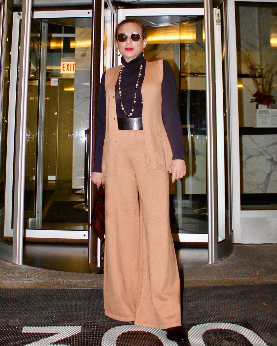 Wendy in wide leg pants and a matching top | 40plusstyle.com