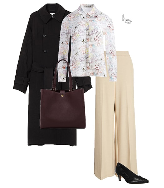 printed top and trench coat | 40plusstyle.com