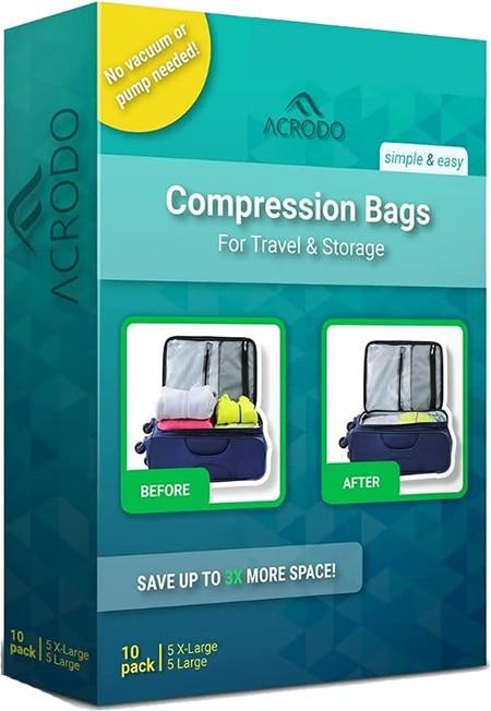 Acrodo Compression Bags for Travel | 40plusstyle.com