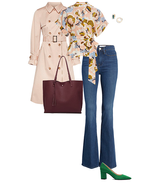Trench coat and jeans outfit | 40plusstyle.com