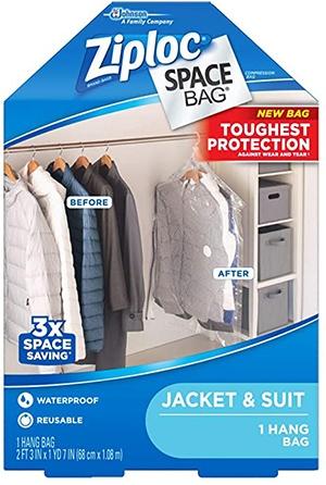 Ziploc Hanging Space Bag Clothes Vacuum Sealer Storage Bags | 40plusstyle.com